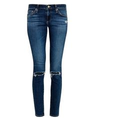 ALEXA CHUNG FOR AG The Legging mid-rise skinny jeans (€330) ❤ liked on Polyvore featuring jeans, pants, bottoms, denim, jeans/pants, indigo, distressed skinny jeans, ripped skinny jeans, white distressed skinny jeans y skinny jeans