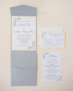 Real Grey and Yellow Vertico Pocket Invitations