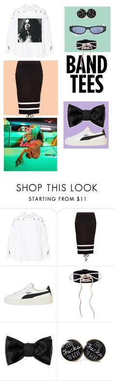 """""""Rihanna groupie : Band tees"""" by krisdel-r-b ❤ liked on Polyvore featuring Kenzo, Puma and Gucci"""