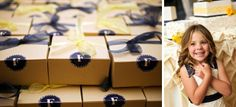 navy and yellow favor boxes. loganwalkerphoto.com