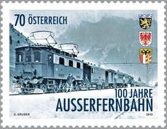 Stamp: Train with electric locomotive E62 series (Austria) (100 years Außerfernbahn) Mi:AT 3086,Yt:AT 2915,ANK:AT 3115