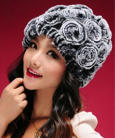 Floral Knitted Rabbit Fur Hat | Stylish Beth