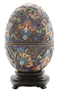 Large Russian Enamel Gilt-Silver Faberge' Egg - Boxlate 19th century, cloisonné scroll