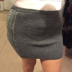 Cute sweater skirt Fun for cold weather. Stretchy soft grey with white detailing sweater skirt is perfect to wear over thick tights and boots ESPRIT Skirts Mini