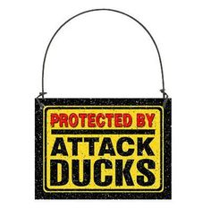 DECO Mini Fun Sign Ornament  ATTACK DUCKS Small Sign New in Pkg Gift Caution   #DecorativeGreetingsInc