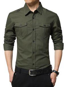 Men's Clothing, Shirts, Casual Button-Down Shirts, Men's Casual Slim Fit Shirt Cotton Long Sleeve Button Down Dress Shirt - H-army Green-two Pockets - CN1869COHN9  #style #fashion #Shirts #outfits #Clothing #Casual Button-Down Shirts