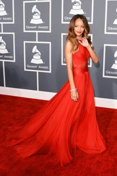Of all her recent looks, the red gown she wore to the Grammys might take the prize #Rihanna