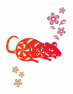 Illustration of Chinese year of Rat made by traditional chinese paper cut arts vector art, clipart and stock vectors. Asian New Year, Chinese Zodiac Rat, Chinese Paper Cutting, New Year's Crafts, Chinese Design, Zodiac Art, Lunar New, Traditional Chinese, Rats