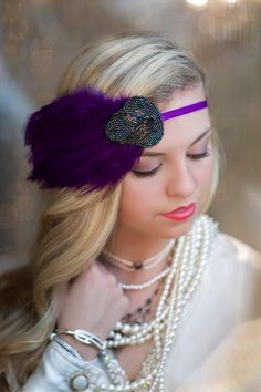 The Great Gatsby Headpiece, Art Deco Flapper Headband, 1920s Costume Headdress, Roaring 20s, Jazz Age, Womans Beaded Purple Feather Headband on Etsy, $30.00