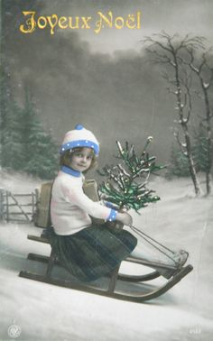 Antique French Postcards - Happy Holidays from Baudelaire! Vintage Girls, Vintage Roses, Vintage Children, Christmas Sheets, Kids Christmas, French Christmas, Vintage Pictures, Vintage Images, Saint Nicolas
