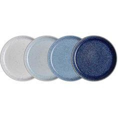 En perfekt present till familjen: Denby Studio Blue Tallrik 21 cm, 4-Pack - ✓ Förvänta dig lite mer - varje gång Blue Dinnerware, Casual Chic Style, Salad Plates, Plate Sets, Stoneware, Blue And White, Studio, Natural Colors, Glaze
