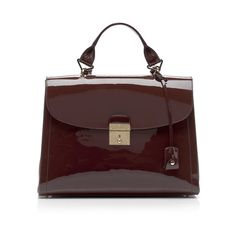 Marc Jacobs: The 1984 Patent Satchel in Chestnut ($1,595) ❤ liked on Polyvore
