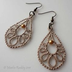 Teardrop earrings tatted lace natural beige by yarnplayer on Etsy