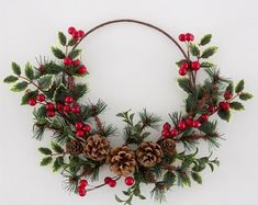 Christmas Wreath Red Berry and Holly Rustic Hoop Wreath Hanging Door wall Christmas Decoration Bohemian Christmas, Natural Christmas, Simple Christmas, Winter Christmas, Christmas Time, Christmas Crafts, Christmas Ornaments, Rustic Christmas, Christmas Christmas