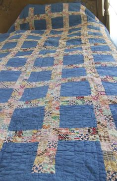 Blue Postage Stamp Square Quilt Mid-Century Hand Sewn Cottage Style. Good pattern for little scraps.