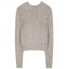 Givenchy Angora-Blend Sweater ($495) ❤ liked on Polyvore featuring tops, sweaters, shirts, jumper, grey, grey top, shirts & tops, givenchy sweater, givenchy shirt and givenchy