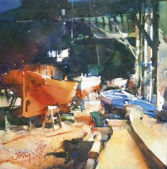 Risultati immagini per marc folly Watercolour Tutorials, Art Day, Insta Art, Art Pictures, Watercolor Paintings, Modern Art, Sailing, Abstract Art, Boat