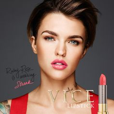 Ruby Rose slaying the day in shade Streak! Make this Vice Lipstick yours and pick it up now at urbandecay.com. #LipstickIsMyVice