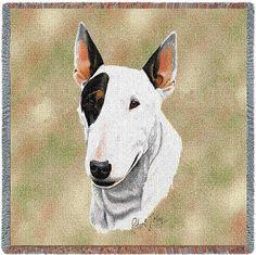 Bull Terrier Dog Portrait Art Tapestry Lap Throw