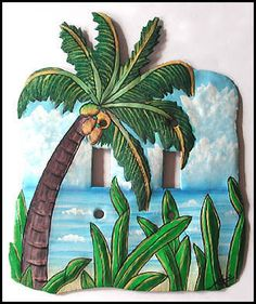 Hand Painted Metal Art - Garden Decor, Tropical Plant Designs - Painted Metal Wall Decor & Switchplate Covers Hand painted metal palm trees, banana trees, coconut trees, caladiums to enhance your tropical decor Decorative Light Switch Covers, Switch Plate Covers, Light Switch Plates, Tropical Home Decor, Tropical Design, Tropical Decor, Tropical Furniture, Tropical Interior, Tropical Colors