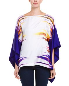 Josie Natori-Ink Print Silk Twill Batwing Top