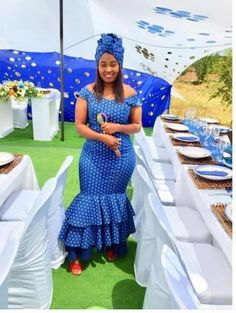 South African Shweshwe Dresses For Women 2019 African Attire, African Wear, African Fashion Dresses, African Women, African Dress, African Beauty, African Style, Seshweshwe Dresses, African Traditional Dresses