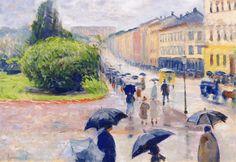 Karl Johan in the Rain , Oslo - Edvard Munch 1891 Norwegian Edvard Munch, Oslo, Umbrella Art, Parasols, Oil Painting Reproductions, Art Moderne, Van Gogh, Art Pictures, Les Oeuvres