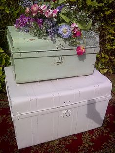 Painted vintage tin travel trunks