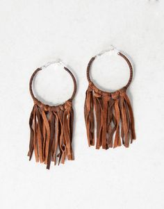 :SUEDE FRINGE EARRINGS