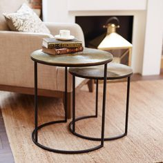 Folio Round Nesting Tables Vintage Brass - Meadows and Byrne