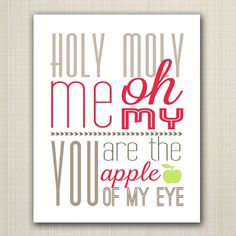 apple of my eye printable 8x10 children's art print by westwillow, $5.00