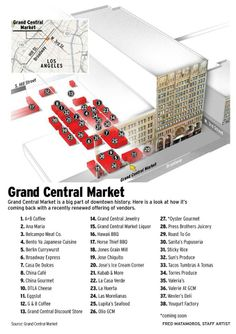Grand Central Market Grand Central Market is a big part of downtown history. Here is a look at how it's coming back with a recently renewed offering of vendors. Fred Matamoros' map shows where to locate your favorite vendor. Information Architecture, Information Design, Information Graphics, Central Market, I Love La, How To Create Infographics, City Of Angels, Downtown Los Angeles, California Usa