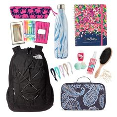 A fashion look from March 2016 featuring the north face rucksack, bobby hair pins and Eos. Browse and shop related looks. Middle School Supplies, Middle School Hacks, High School, School Bag Essentials, Backpack Essentials, School Items, School Bags, Cute Teen Outfits, Outfits For Teens