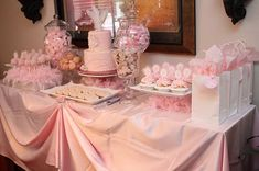 55 New Ideas baby shower table set up tablecloths candy buffet Pink Dessert Tables, Candy Buffet Tables, Candy Table, Dessert Buffet, Pink Table, Rosa Desserts, Pink Desserts, Baby Shower Table Set Up, Bridal Shower Tables