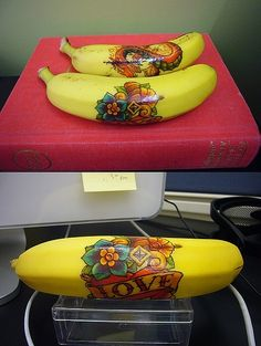 Temporary tattoo on a banana. What kid wouldn't love finding a Super Hero, Spiderman or Hello Kitty banana in their lunchbox? Cute and simple @ Happy Learning Education Ideas