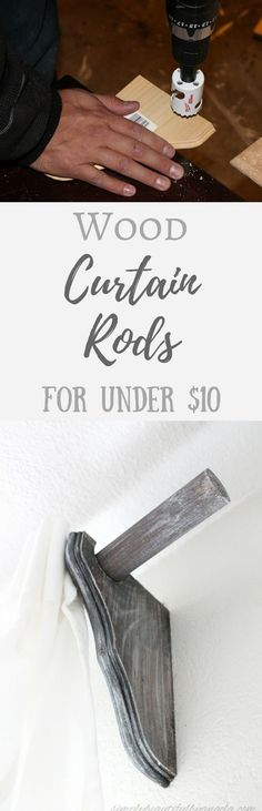 Simply Beautiful By Angela: DIY Wood Curtain Rods on the Cheap.  Farmhouse Style Curtain Rods
