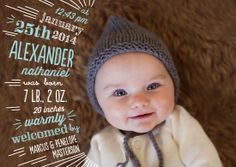 """""""Cutely Curved: Surf"""" Winter boy birth announcements"""