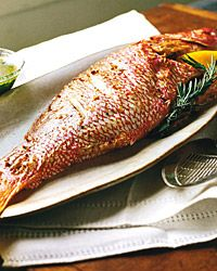 Whole Roasted Snapper with Parsley Vinaigrette Recipe from Food & Wine? Making a version of this tonight but adding stuffing mixture of peppers, tomato, onions, basil and chives