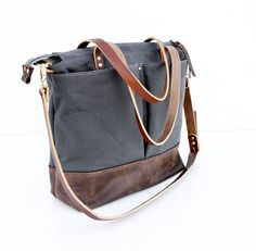 Grey waxed canvas and Dark Brown leather diaper bag nappy bag tote bag