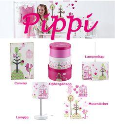 Hoe leuke deze nieuwe Pippi lijn, nu bij Koterkamertje! o.a verkrijgbaar een leuke muursticker, lampen en een mooi canvas.