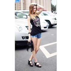 Women Euro Style All-Matched Scoop Sleeveless Rivet Slim Black Cotton... ($13) via Polyvore