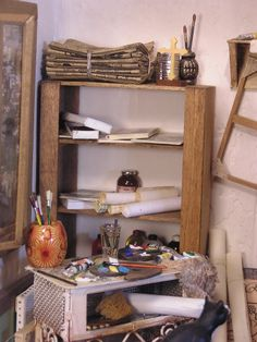 THE ARTIST'S STUDIO painter's table and shelves