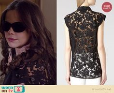 Jenna's black lace back top on Pretty Little Liars.  Outfit Details: http://wornontv.net/36046/ #PLL