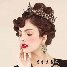 Love poems of Wei European retro Baroque Crown Princess queen studio theme hair beauty catwalk crown