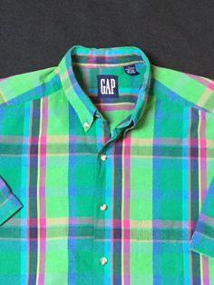 Men's Gap Short Sleeve Plaid Button Down Oxford Large | eBay