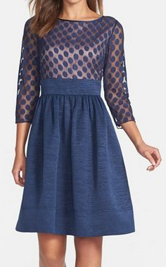 Dot mesh fit & flare dress http://rstyle.me/n/tydf9nyg6
