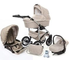 Baby Pram Pushchair 3in1 Travel System Stroller Swivel Wheels FOLDABLE CARRYCOT