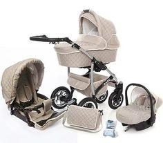 Baby Pram Pushchair 3in1 Travel System Stroller Swivel Wheels FOLDABLE CARRYCOT