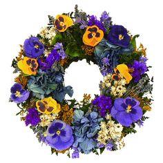 Preserved Pansy Garden Wreath