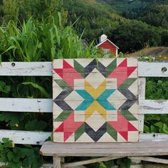 A hand painted bold and bright Lancaster Fields Barn Quilt Star. Sealed for indoor and outdoor use. Available in three sizes. Barn Quilt Designs, Barn Quilt Patterns, Quilting Designs, Block Patterns, Star Patterns, Barn Signs, Wood Signs, Painted Barn Quilts, House Quilts